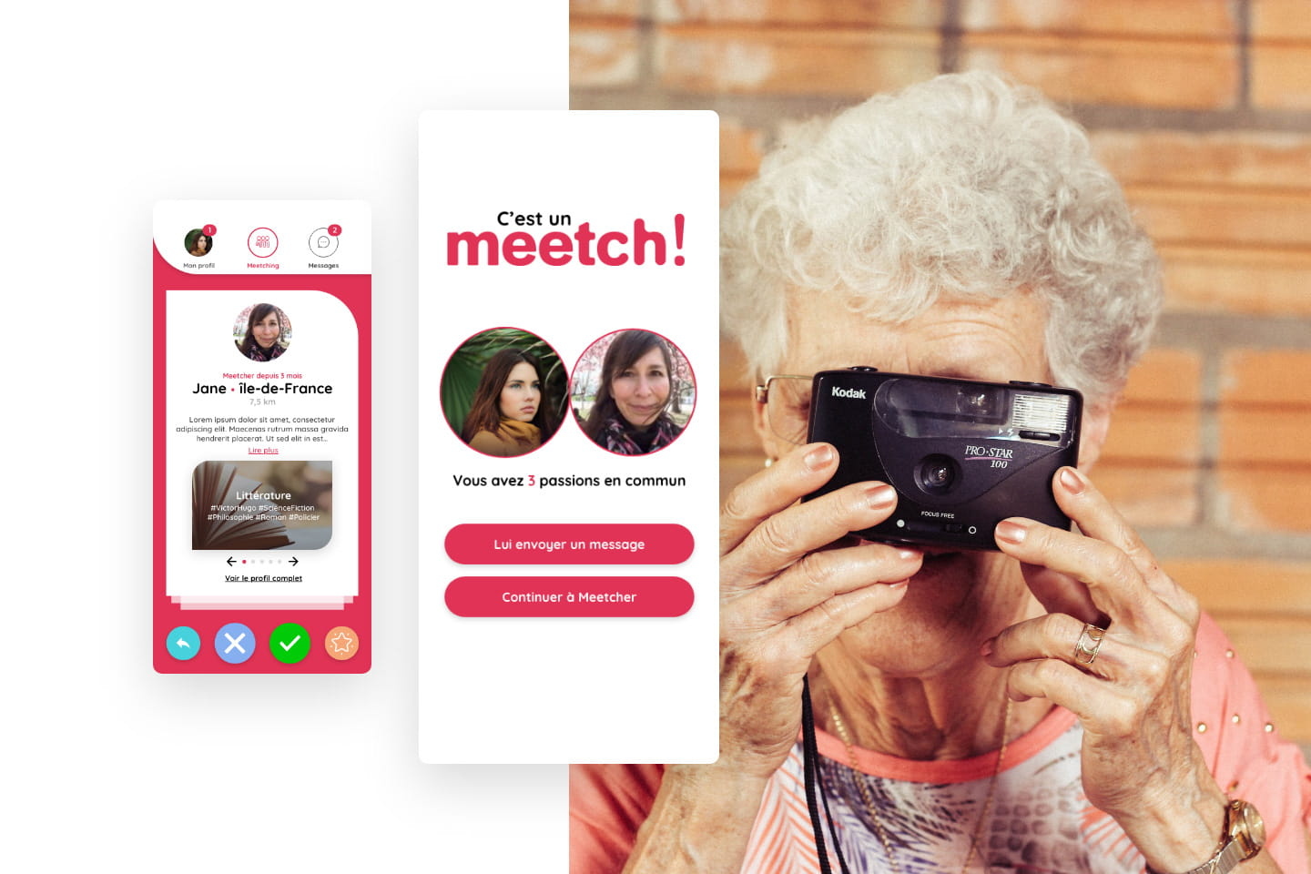 Meetches interface profil